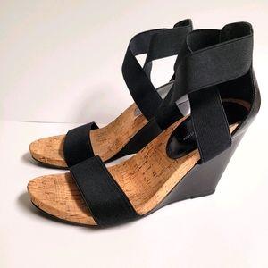 Strappy Black wedge cork sandals